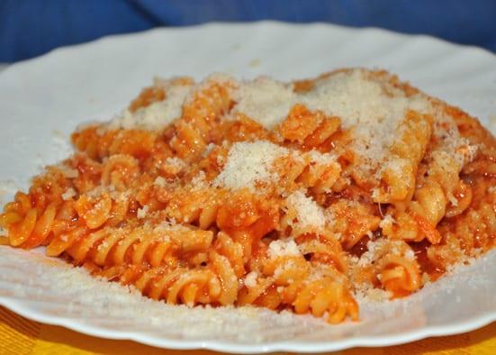 Fusilli, a spiral shape of pasta