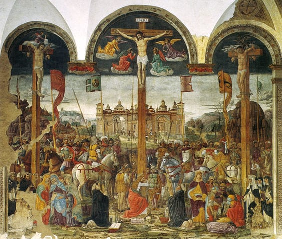 Donato Montorfano's Crucifixion, displayed across from the Last Supper