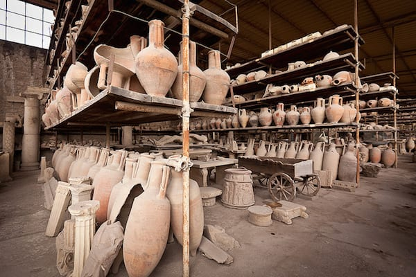 Vases used for weighing grain and other dried goods coming in to Pompeii for sale. Photo by jimmyweee