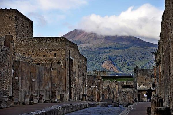 A View of Mt Vesuvius From the Via di Mercurio in Pompeii