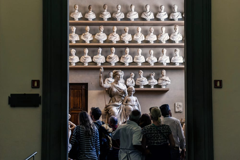 statues in the Accademia, Florence.